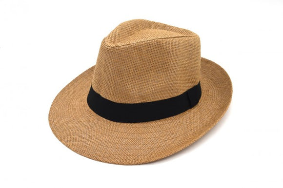 Brown Paper Straw Trilby Hat with Black Band