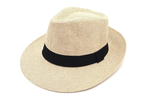 Creme Paper Straw Trilby Hat with Black Band