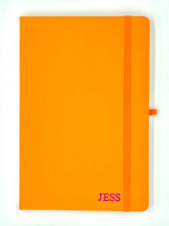 Orange Personalised A5 Leather Notebook