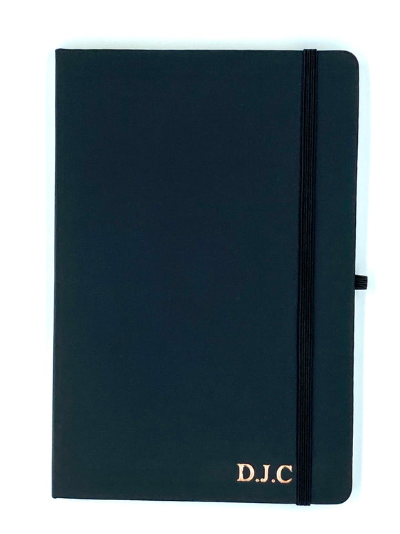 Black Personalised A5 Leather Notebook