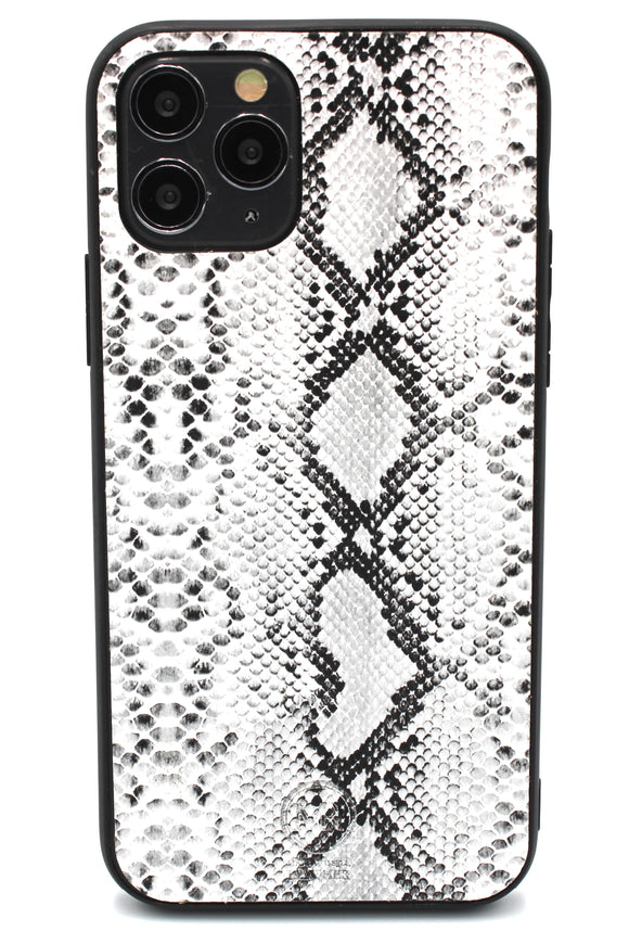 Personalised White Snakeskin Leather iPhone Case