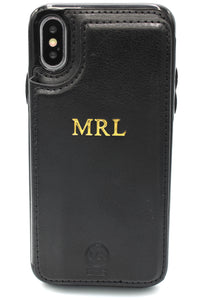 Personalised Leather iPhone Wallet Case - Black