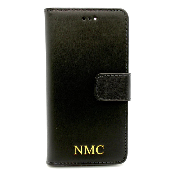 Personalised Black Leather iPhone Wallet Case