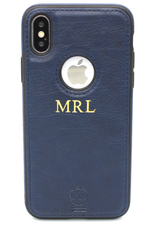 Personalised Navy Blue Leather iPhone Case