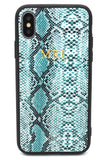 Personalised Leather iPhone Case - Green Snakeskin