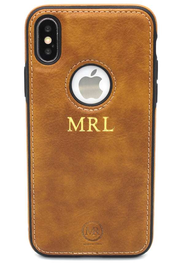Personalised Tan Leather iPhone Case