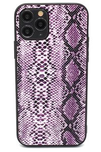 Personalised Purple Snakeskin Leather iPhone Case