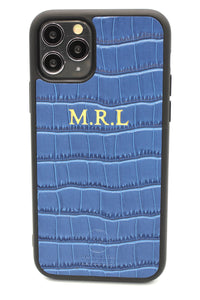 Personalised Blue Croc Leather iPhone Case