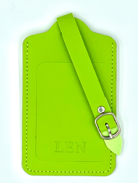 Lime Green Leather Luggage Tag