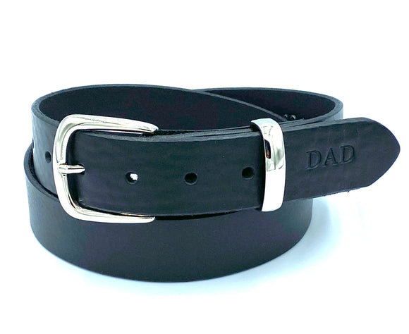 Black leather belt. Handmade in England