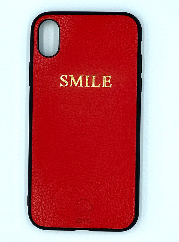 Personalised Leather iPhone Case - Red
