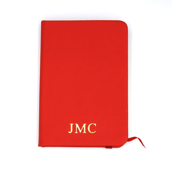 Personalised A7 Leather Notebook - Red