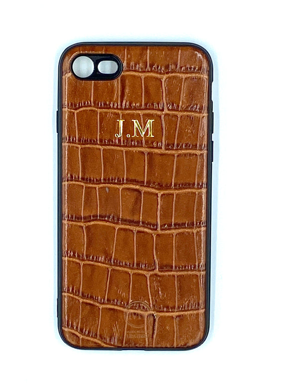 Personalised Tan Croc Leather iPhone Case