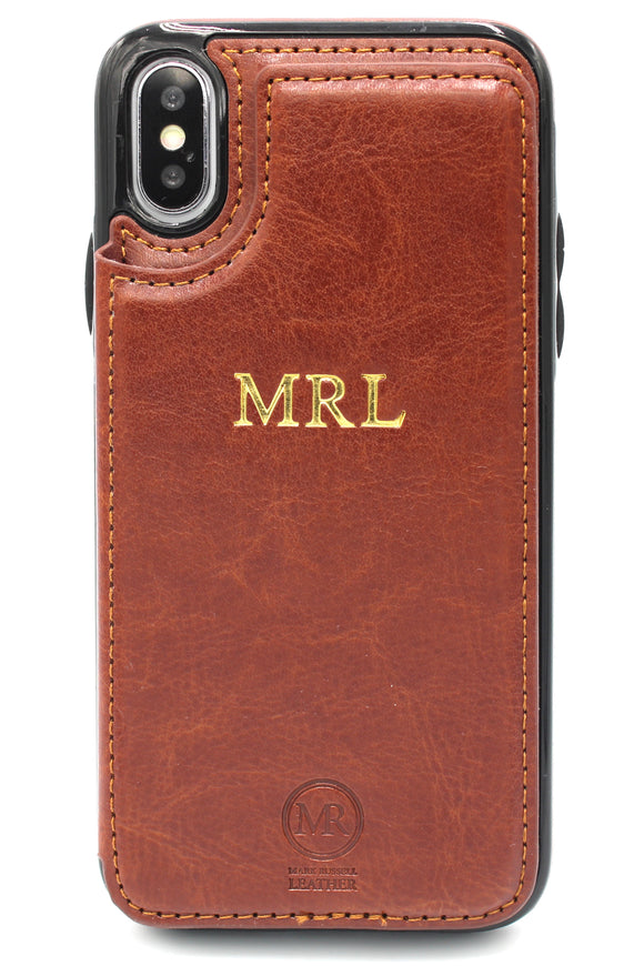 Personalised Leather iPhone Wallet Case - Brown