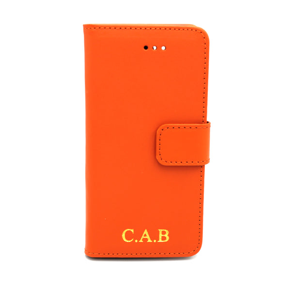 Personalised Leather iPhone Book Case - Orange