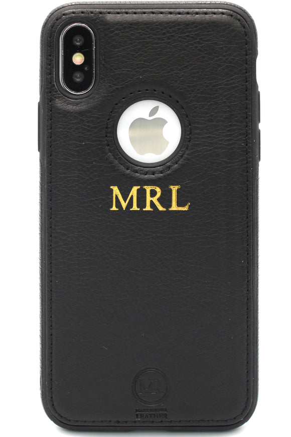 Personalised Leather iPhone Case - Black