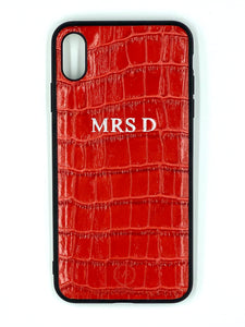 Personalised Leather iPhone Case - Red Croc