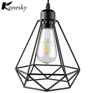 Industrial Vintage Diamond Cage Pendant Light Sconce Hanging Droplight