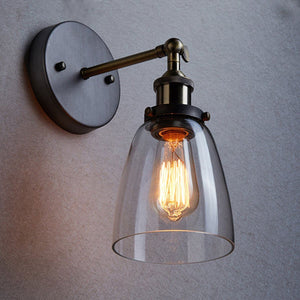 Retro Vintage Industrial Glass Lamp Shade Edison Filament Lampshade Wall Light Sconce