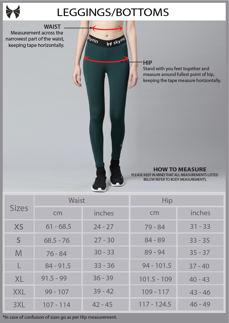 Skyria Leggings/ Bottoms Size Chart