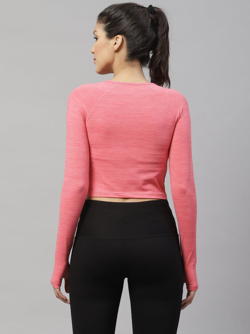 Skyria Faith Long Sleeve Crop - Salmon Pink