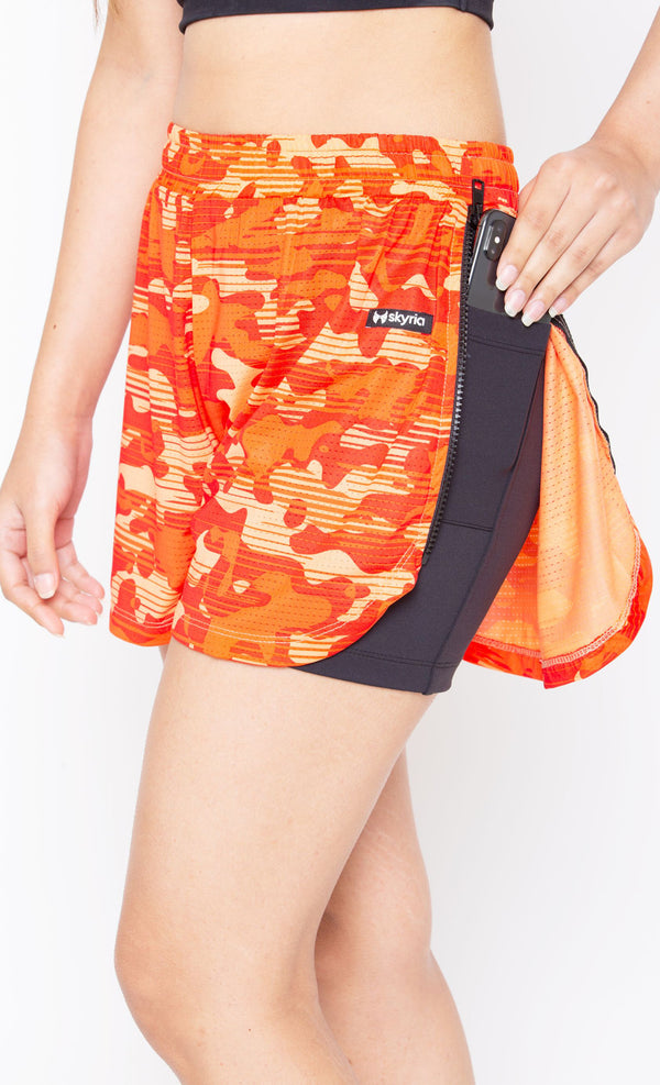 Skyria Vita Shorts- Camo Orange