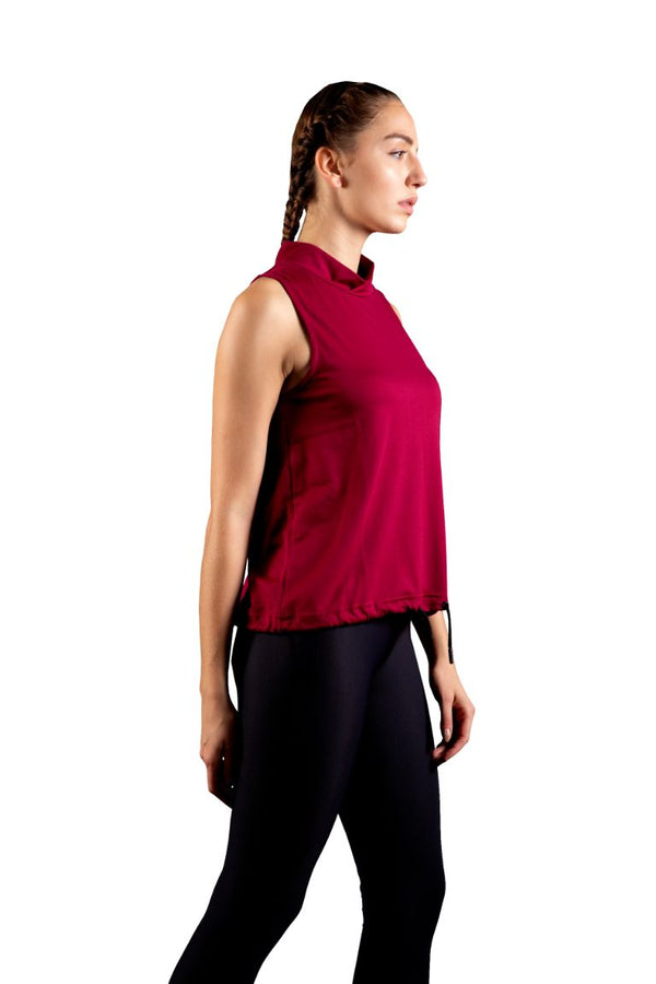 Skyria Chloe Turtleneck Tank - Deep Plum