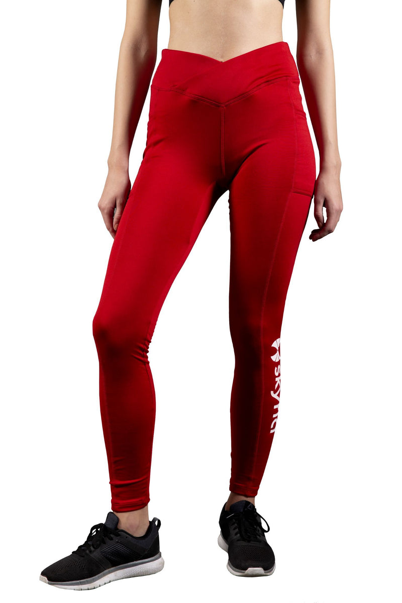 Red Slim Fit Leggings for Workout