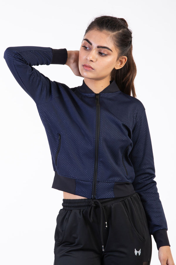 Skyria Cosmo Bomber Jacket- Space Blue