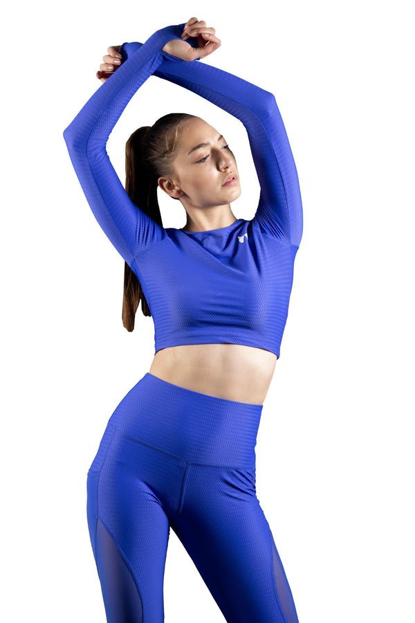 Skyria Faith Long Sleeve Crop - Azure Blue