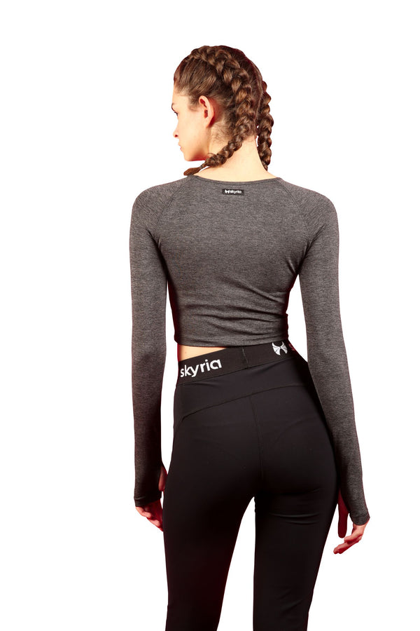 Skyria Faith Long Sleeve Crop - Graphite