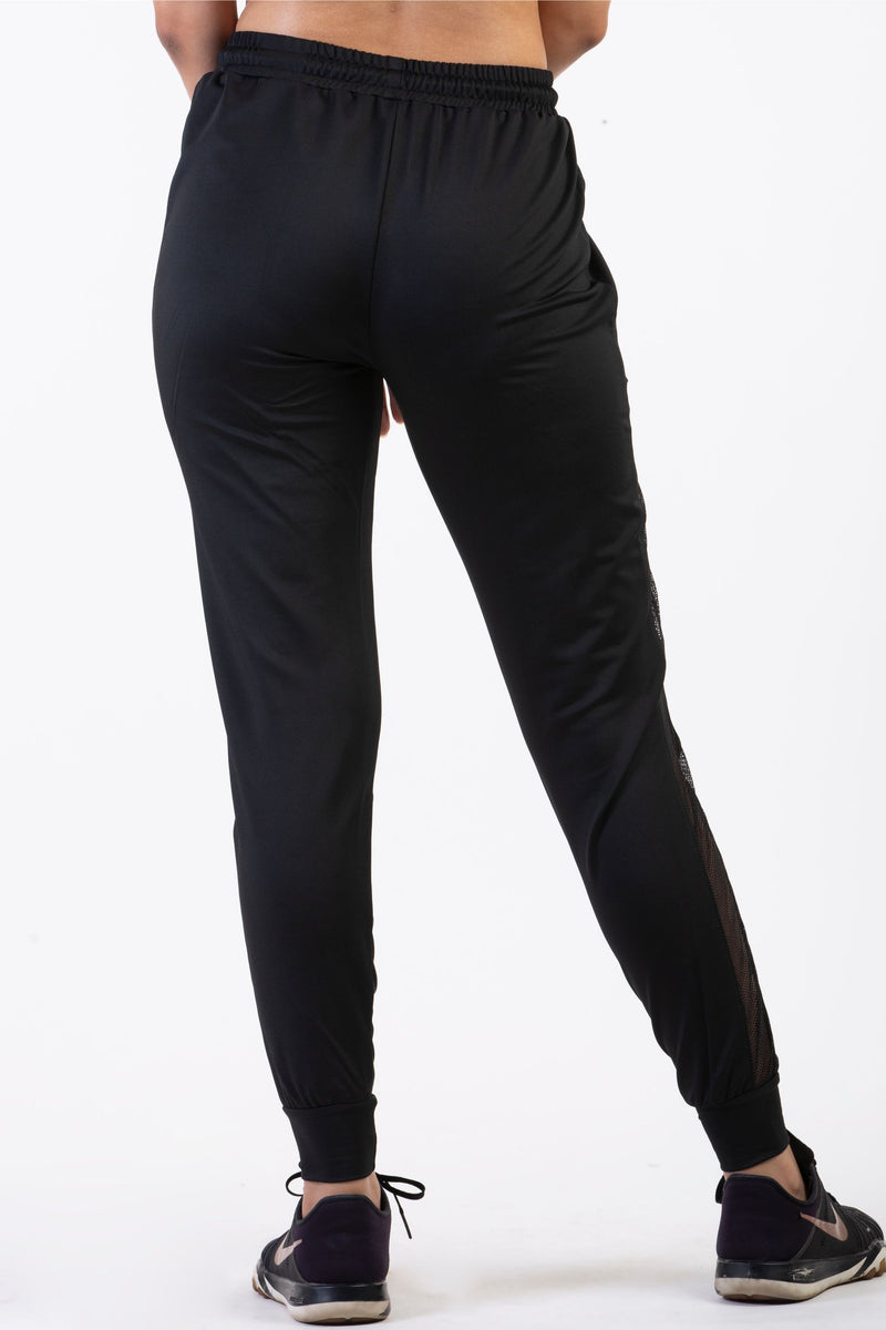 ebony black track pants for women