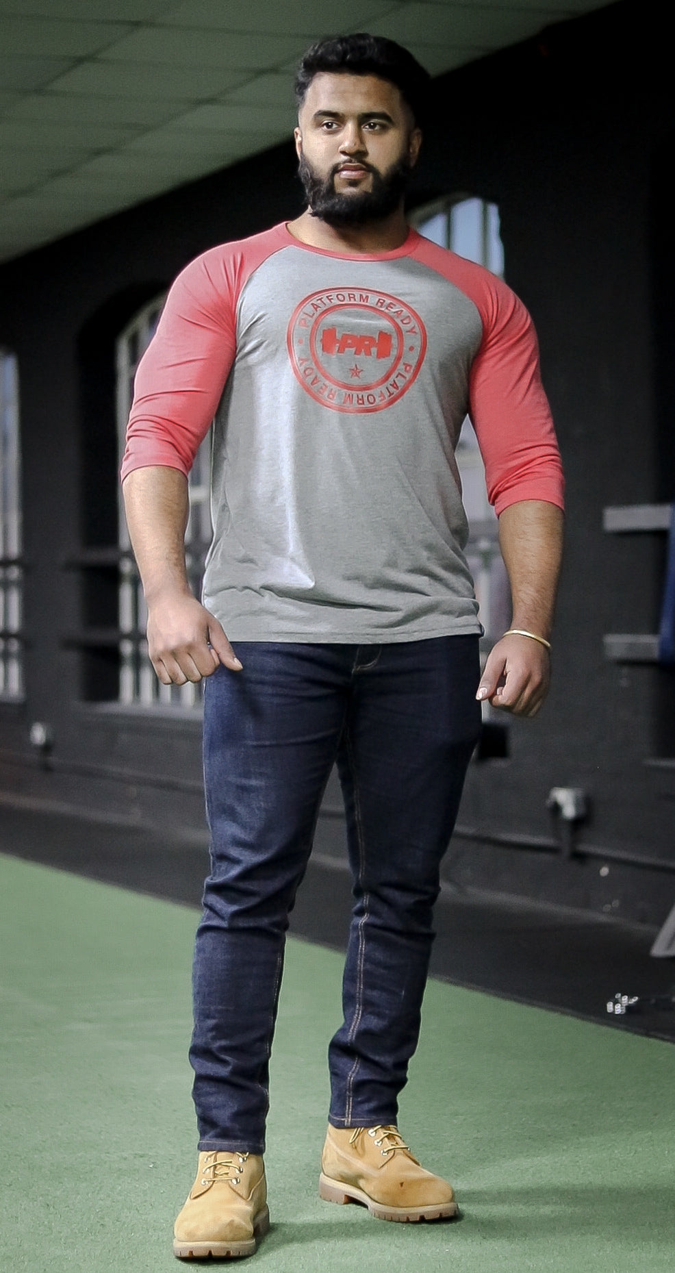3/4 Grey/Red Classic Baseball Tee