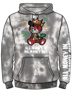 """All Money In No Money Out"" Grey Tie Dye Hoodie"