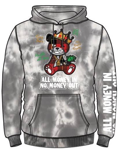 """All Money In No Money Out"" Gray Tie Dye Hoodie"