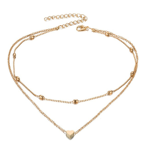 Double Chain Choker Heart Necklace