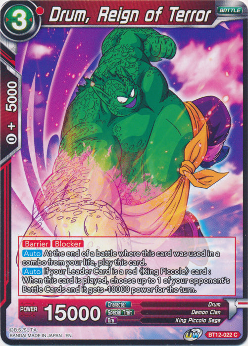Dragon Ball Super Card Game: BT12-022 - Drum, Reign of Terror