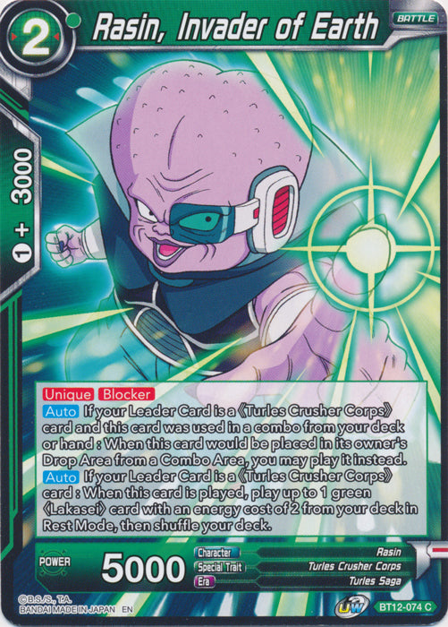 Dragon Ball Super Card Game: BT12-074 - Rasin, Invader of Earth