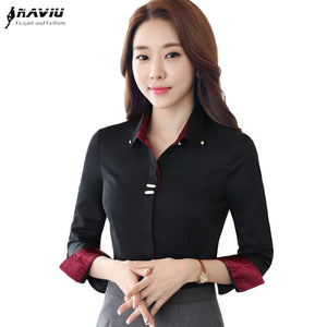 7d59054f67c013 Fashion clothes OL women long sleeve shirt black white slim Patchwork  Sequined cotton blouse office ladies plus size formal tops