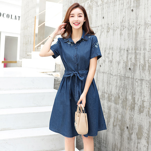 33c6f4c9b80 Summer Floral Embroidery Boho Denim Dress Women Clothing Sashes ...