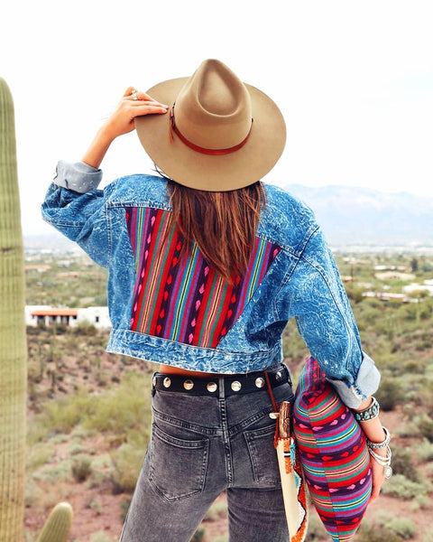 Custom Vintage Southwestern Cropped Denim Jacket
