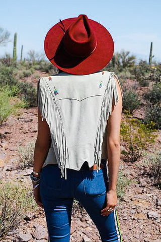 Vintage Fringe Western Vest with Colorful Beaded Detailing