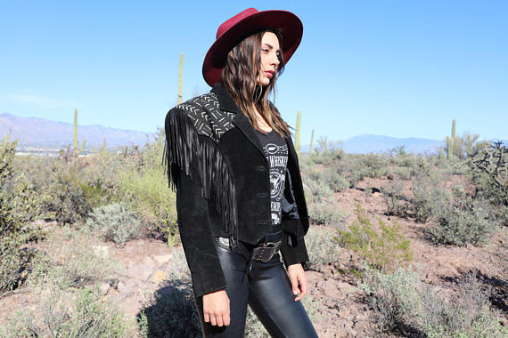 Vintage Fringe Jacket with Custom Mud Cloth Detailing