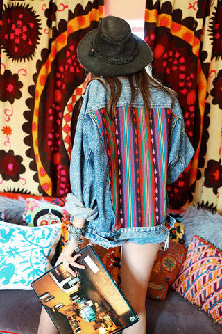 Vintage Southwestern Denim Jacket with Custom Detailing