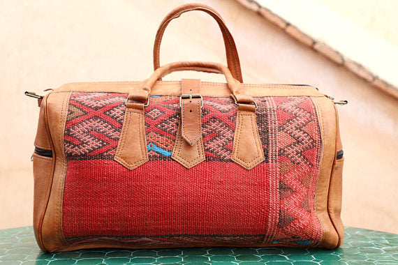 Moroccan Leather + Kilim Hand Bag