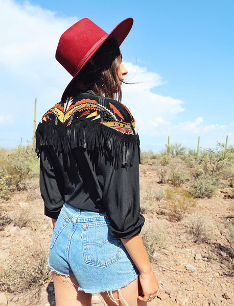Vintage Fringe Western Blouse With Leather Detailing
