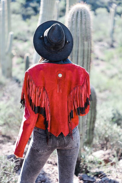 Vintage Red Fringe Suede Jacket Pioneer Wear