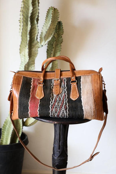 Vintage Moroccan Kilim Leather Duffel Bag