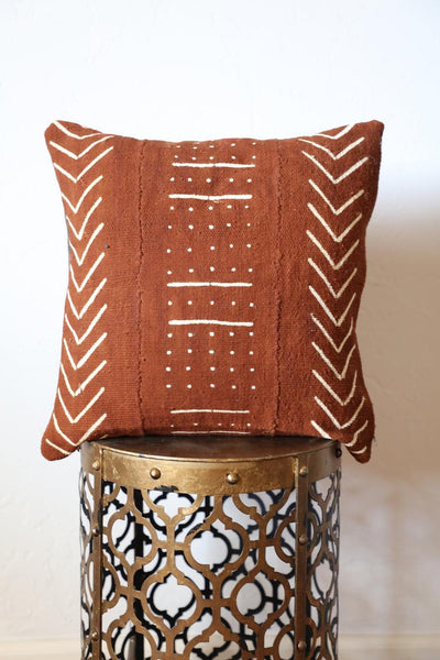 Rust Copper Mudcloth Pillow