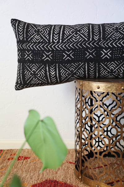 Black Mudcloth Long Lumbar Pillow